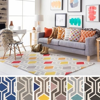 Pass Hand-Tufted Retro Geometric Wool Rug - 7'6 x 9'6 (More options available)