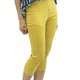 Relished Women's Mustard Moto Capris