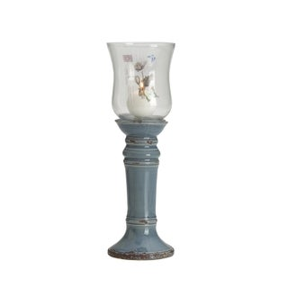 Elements 15-inch Blue Floral Hurricane