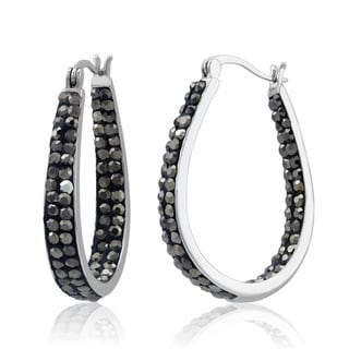 Rhodium-plated Jet Black Crystal In and Out Hoop Earrings