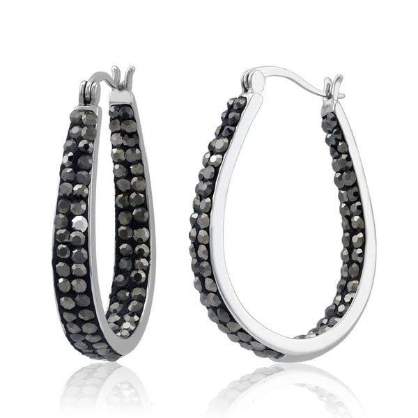 Rhodium Plated Jet Black Crystal In And Out Hoop Earrings
