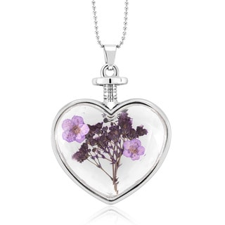 Rhodium-plated Genuine Purple Flower Glass Heart Necklace