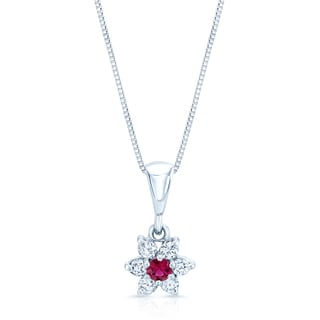 14k White Gold Ruby 1/3ct TDW Diamond Flower Pendent (F-G, I1-I2)