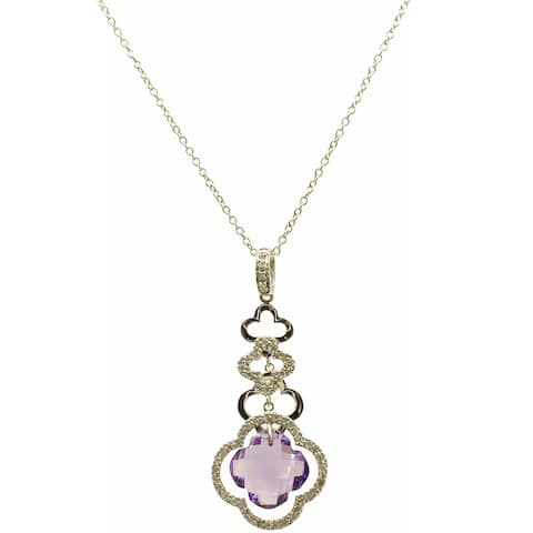 Kabella 14k White Gold Lily Amethyst and Diamond Accent Pendant (G-H, SI2-SI3)