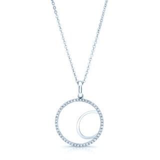 14k White Gold 1/4ct TDW Diamond Initial Circle Pendant