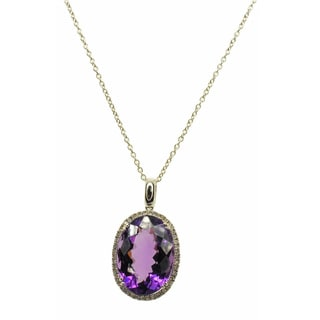 Kabella 14k White Gold Amethyst and Diamond Accent Accent Pendant (G-H, SI2-SI3)
