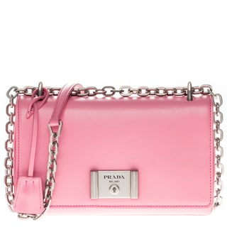 Prada Pink Soft Calf Leather Shoulder Handbag