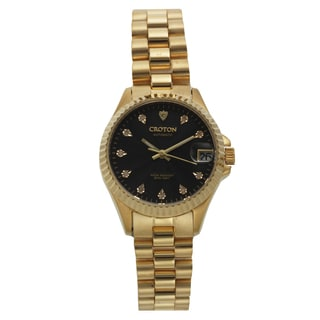 Croton Women's CN207527YLBK Stainless Steel Goldtone Diamond Marker Watch