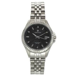 Croton Women's CN207528SSBK Stainless Steel Silvertone Diamond Marker Watch
