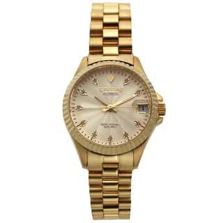 Croton Women's CN207527YLCD Stainless Steel Goldtone Diamond Marker Watch