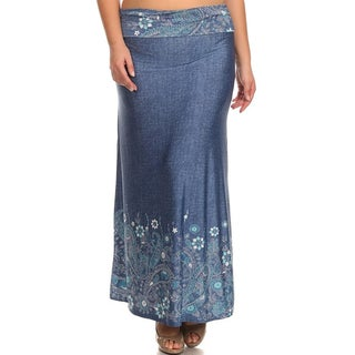 MOA Collection Women's Plus Size Denim Maxi Skirt