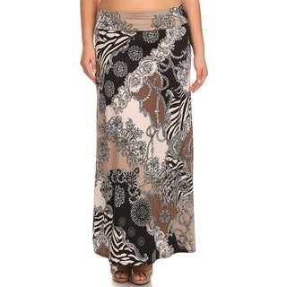 MOA Collection Women's Plus Size Brown Multi Print Maxi Skirt
