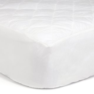 Deluxe Cotton-Blend Hypoallergenic Fitted Mattress Pad