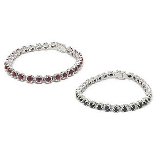 De Buman 925 Silver 7.58ctw Natural Ruby or Natural Sapphire Bracelet