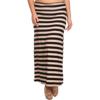 Moa Collection Women's Plus Size Mocha Striped Maxi Skirt