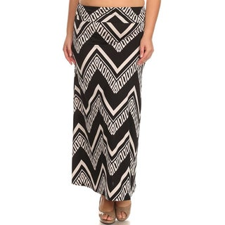 Moa Collection Women's Plus Size Chevron Maxi Skirt