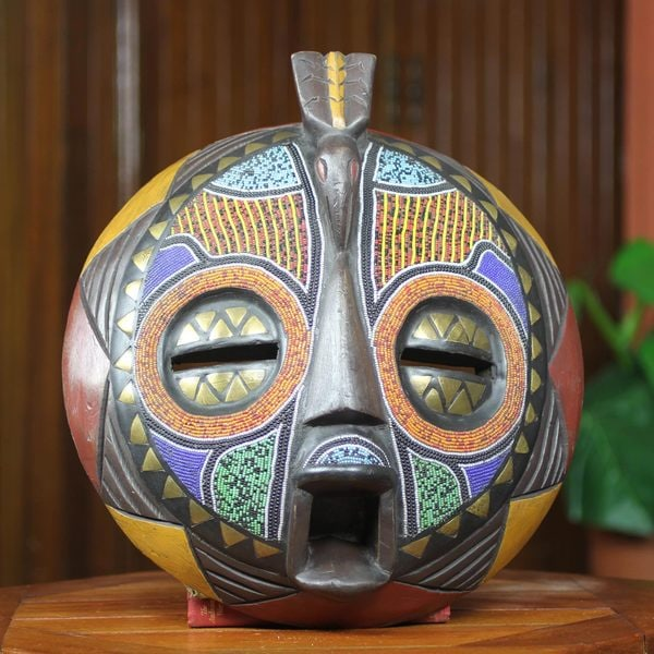 Handcrafted Beaded Wood Brass 'Akan Anoma' Mask (Ghana)