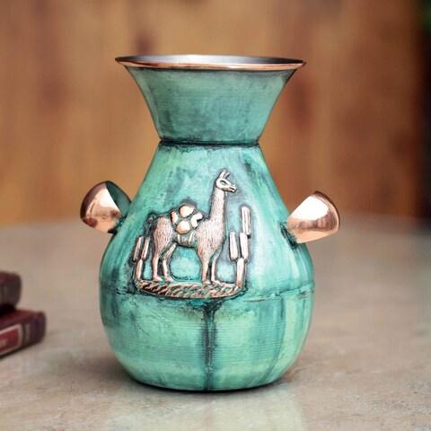 Handmade Bronze Copper 'Messenger and Llama' Vase (Peru)
