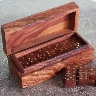 Handcrafted Brass Sheesham Wood 'Domino Delight' Domino Set (India)