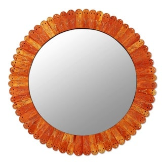 Handcrafted Bone Glass 'Sunset in Moradabad' Wall Mirror (India)