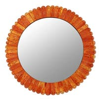 Handmade Bone Glass 'Sunset in Moradabad' Wall Mirror (India) - Orange