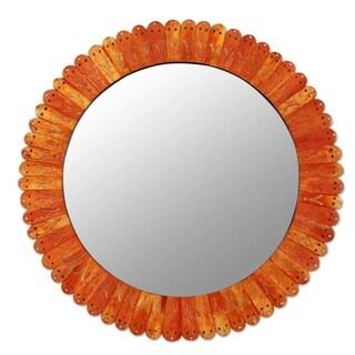 Handmade Bone Glass 'Sunset in Moradabad' Wall Mirror (India) - Orange - N/A