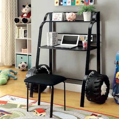 Furniture of America Siln Black 2-piece Racing Writing Desk Set