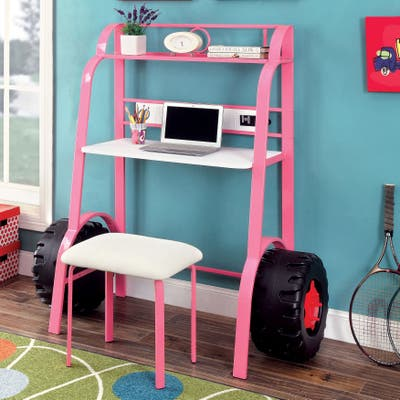 Furniture of America Feln Pink 2-piece Racing Writing Desk Set