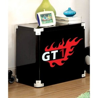 Furniture of America Jimmie Black Metal Racing 2-shelf Nightstand