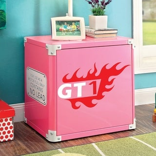 Furniture of America Jessie Pink Metal Racing 2-shelf Nightstand