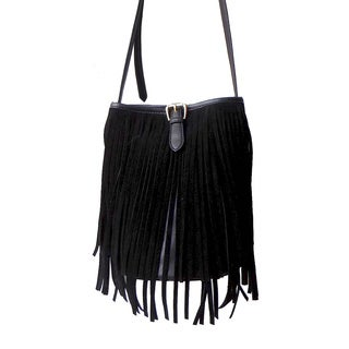 Olivia Miller 'Willa' Long Fringe Buckle Bucket Handbag