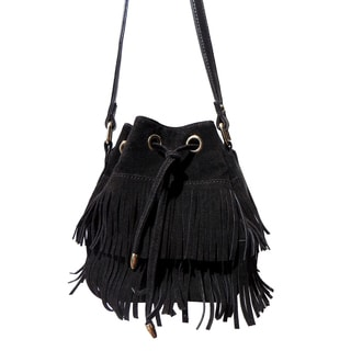 Olivia Miller 'Amelia' Dual Layer Fringe Mini Bucket Handbag