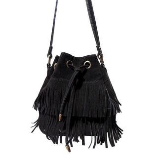 Olivia Miller 'Amelia' Dual Layer Fringe Mini Bucket Handbag