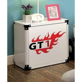 Furniture of America Jimmie White Metal Racing 2-shelf Nightstand|https://ak1.ostkcdn.com/images/products/11188338/P18180167.jpg?impolicy=medium