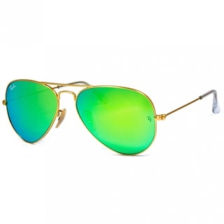Ray-Ban RB3025 112/19 Aviator Unisex Gold Frame Green Flash 62mm Lens Sunglassses