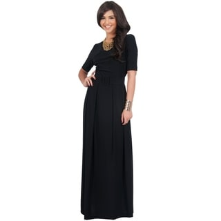 KOH KOH Women's Plus Size High Crossover Wide Belt Full Length Maxi Dress