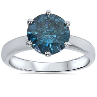 14k White Gold 2.00ct TW Blue Enhanced Diamond Solitaire Engagement Ring