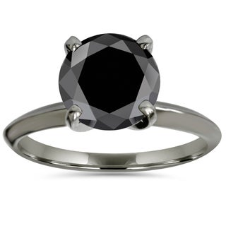 14k Black Gold 3.00ct Black Enhanced Diamond Solitaire Engagement Ring (Black,I2-I3)