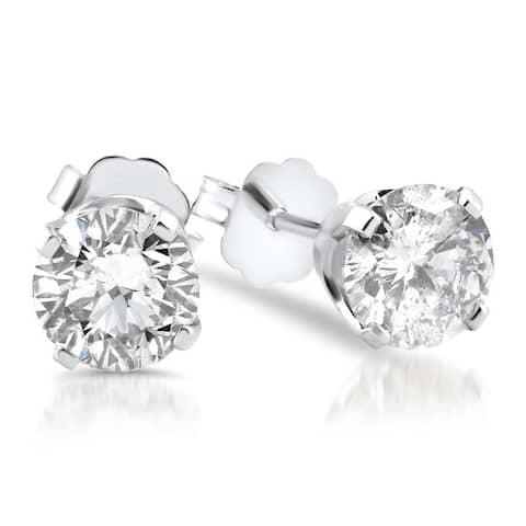 14k White Gold 1 1/2ct TDW Diamond Stud Earrings