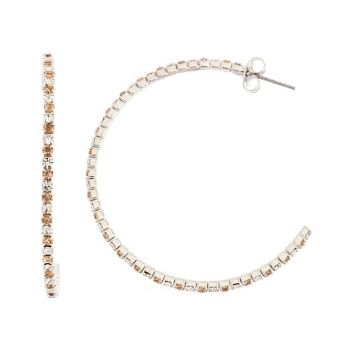 Isla Simone Rhodium Plated 45mm J-Hoop Earring with Alternating Crystal