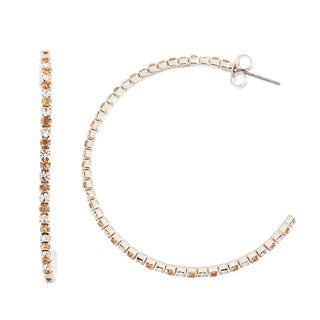 Isla Simone Rhodium Plated 45mm J-Hoop Earring with Alternating Crystal