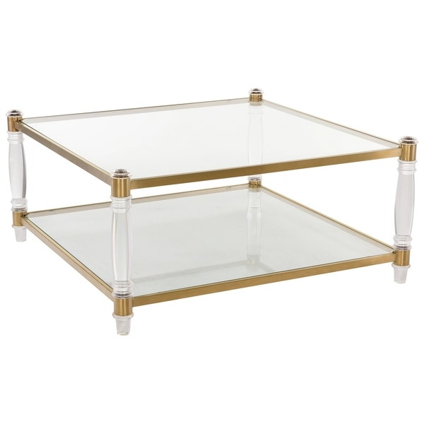 Safavieh Couture High Line Collection Isabelle Bronze Brass Acrylic Coffee  Table
