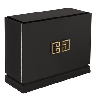 Safavieh Couture High Line Collection Winslow Black Lacquer Gold Leaf  2 Drawer Storage Cabinet
