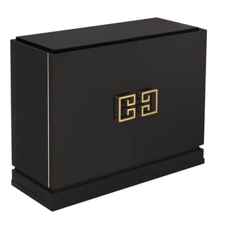 Good Safavieh Couture High Line Collection Winslow Black Lacquer Gold Leaf  2 Drawer Storage Cabinet