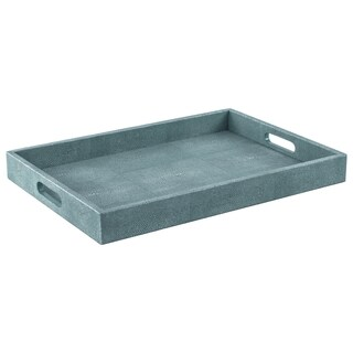 Safavieh Couture High Line Collection Keanu Shagreen Faux Stingray Teal Tray