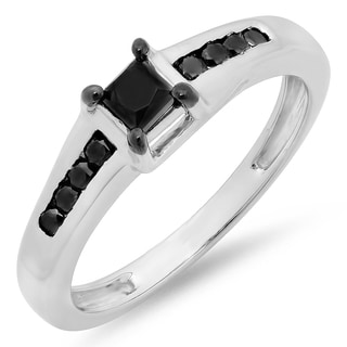 Elora Sterling Silver 1/2ct TDW Princess and Round Black Diamond Solitaire Engagement Ring