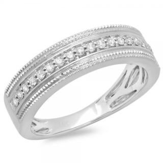Elora 14k White Gold 1/3ct TDW Round Diamond Men's Millgrain Wedding Band Anniversary Ring