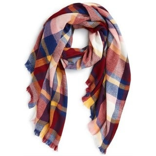 Multicolor Plaid Oblong Scarf