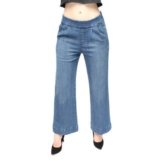 Women's Medium Blue Ankle Culotte Denim Pants