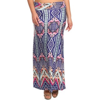 Moa Collection Women's Plus Size Geometric Maxi Skirt